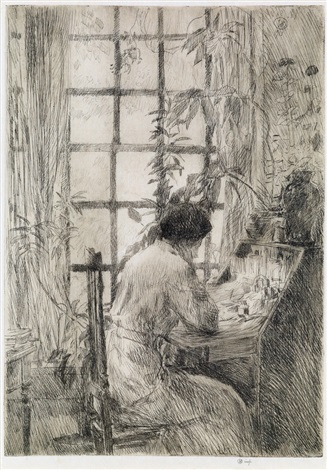Childe Hassam, ⟨At the Writing Desk⟩, 1910